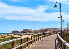 Wooden boardwalk of La Mata Stock Images