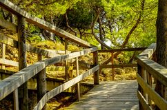 Wooden boardwalk leading to the sandy beach, the path by the sea Stock Photos