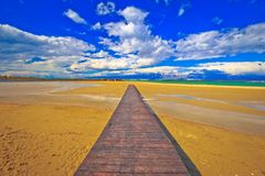 Wooden boardwalk and sand beach of Nin. Dalmatia, Croatia Stock Photo