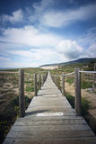 Wooden boardwalk on the sand Stock Photography