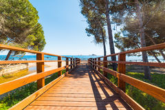 Wooden boardwalk in Santa Maria Navarrese Royalty Free Stock Image