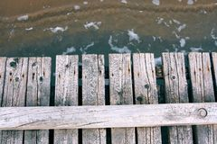 Wooden boardwalk on the sea royalty free stock images