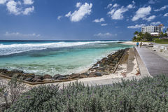Wooden boardwalk, south coast of Barbados, West Indies Stock Images