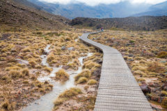 Wooden boardwalk at Tongariro National Park in New Zealand Royalty Free Stock Photography