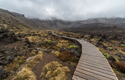 Wooden boardwalk in Tongariro national park Royalty Free Stock Photography