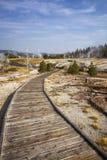 Wooden boardwalk through Upper Geyser Basin Stock Image
