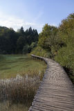 Wooden boardwalks at Lake Plitvice Stock Photos