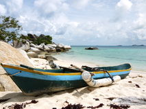 Wooden Boat. Boat on the beach on Belitung Island, Indonesia Stock Photos