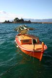 Wooden boat. After the storm and wind royalty free stock photography
