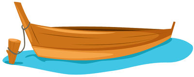 Wooden boat. Illustration of isolated wooden boat on white vector illustration