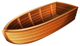 Wooden boat. Alone on a white balcground Royalty Free Stock Photos