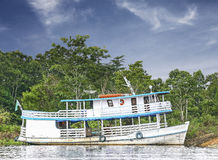 Wooden boat on the Amazon river, Brazil. Royalty Free Stock Photography