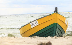 Wooden boat on The Baltic shore Stock Photo