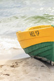 Wooden boat on The Baltic shore Royalty Free Stock Photo