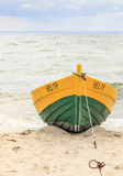Wooden boat on The Baltic shore Royalty Free Stock Photography