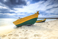 Wooden boat on The Baltic shore. Stock Photography