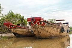Wooden boat barge, river, Vietnam Royalty Free Stock Photo