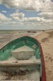Wooden boat on beach, Progreso, Yucatan, Mexico Royalty Free Stock Image