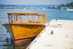 Wooden boat berth Stock Photo