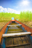 Wooden boat in cane Stock Photography