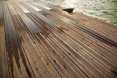 Wet Wooden Dock & Sea Stock Image