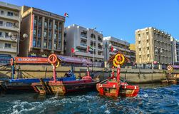 Wooden boat on Dubai Creek royalty free stock image