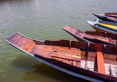 Wooden boat float in lake. Wooden boat float in thevlake royalty free stock image