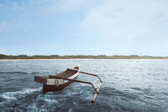 Wooden boat float with wave water. On the sea Royalty Free Stock Photography