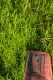Wooden boat on green grass Royalty Free Stock Photos