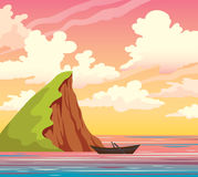 Island, boat, sea, sky, clouds. Sunset landscape. Royalty Free Stock Photography