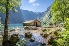 Wooden Boat Hut At The Obersee, Koenigssee, Bavaria, Germany Stock Photo