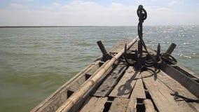 Wooden boat at Jamuna river near Bogra, Bangladesh.  stock footage