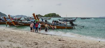 Wooden boat on Koh Lipe, Thailand stock photo