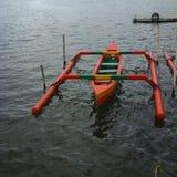 Wooden boat. At the lake in Bali Royalty Free Stock Photos
