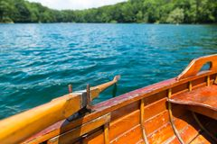 Wooden boat on the lake Royalty Free Stock Photography