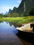 Wooden boat at the Li river Royalty Free Stock Photography