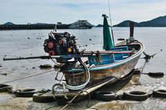 Wooden boat when low tide Stock Image