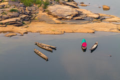 Wooden boat  mekong river. Thailand and Laos in top view Stock Image