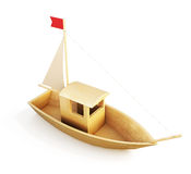 Wooden boat model isolated over a white background. 3d. Stock Image