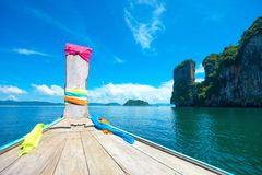ANCIENT BOAT DURING SEA JOURNEY IN SUNNY DAY Stock Image