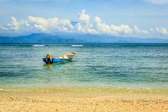 Wooden boat near the beach at Nusa Lembongan, Indonesia Royalty Free Stock Photography