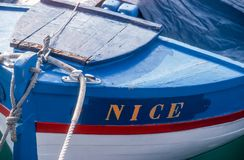 Wooden boat in Nice Stock Photography