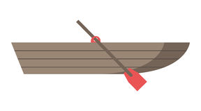 Wooden boat with oar Royalty Free Stock Images
