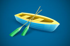 Wooden boat with paddles for fishing or kayaking extreme Royalty Free Stock Images