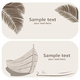 Wooden boat and palm leaves business cards set on beige Royalty Free Stock Images