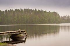 Wooden Boat Pier On Lake. Palvaanjarven Campsite, Lappeenranta, Stock Image