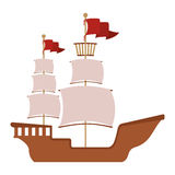 Wooden boat with red flag Royalty Free Stock Photo
