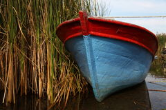 Wooden boat and reeds on lake Stock Photos