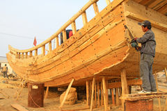 Wooden boat repair field Stock Image