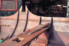 Wooden boat restoration. Shipwright woodwork workshop Royalty Free Stock Photo